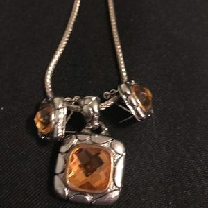 Silver  CZ Citrine Necklace Set with Earrings